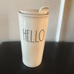 Rae Dunn White Tall To Go Ceramic Hello Coffee Cup